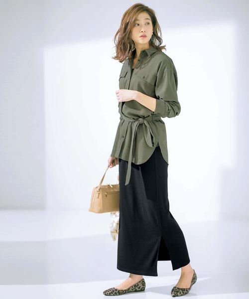 ミリタリーシャツ×カットソーロングスカート