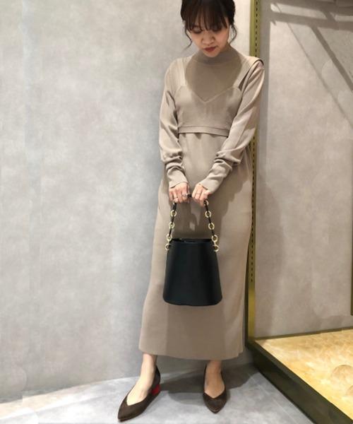 [CAST:] ビスチェカラーニットドレス