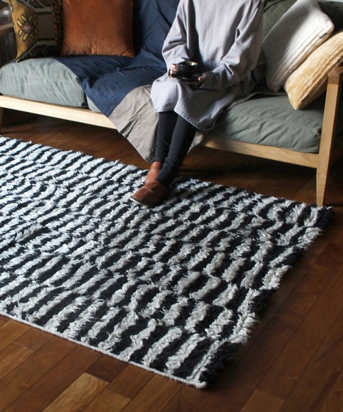 [a.depeche] NZ wool rug black and white / ラグマット