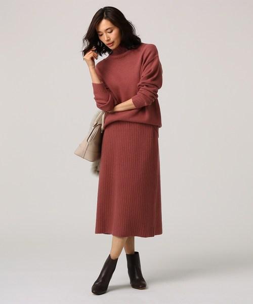[UNTITLED] [L]リブニットミモレタイトスカート