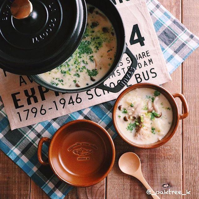 オムライスに合う!きのこのミルクスープ