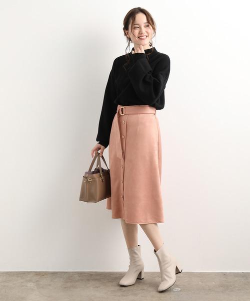 [ViS] エコスエードボタンフレアースカート