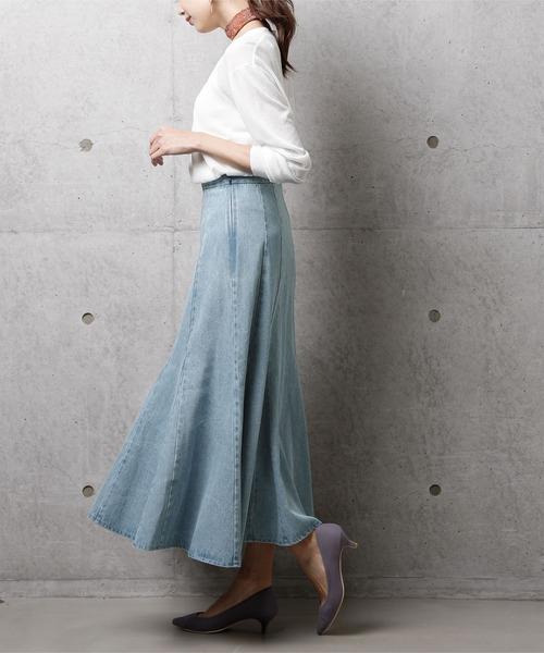 スカーフ×デニムフレアスカート
