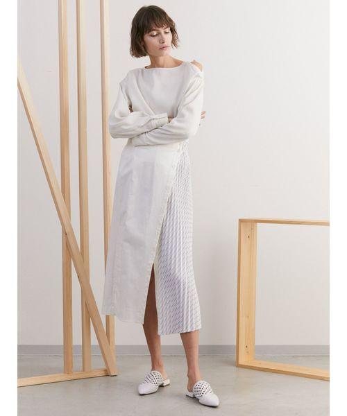 [ELENDEEK] シャツコンビプリーツスカート