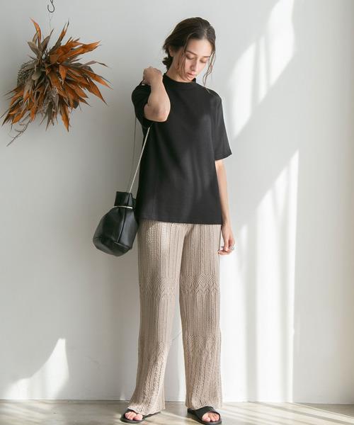 [rectangle] 透かし編みワイドパンツ