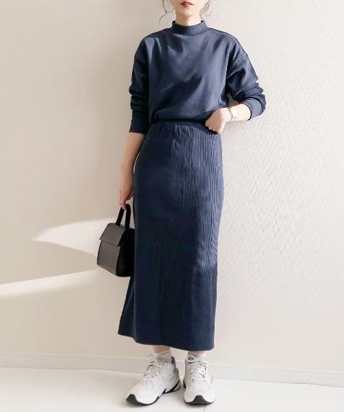 [AZUL ENCANTO] 【洗濯機で洗える】【静電気 軽減効果】カットソーワイドリブIラインスカート
