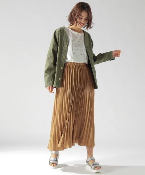 [BAYFLOW] サテンプリーツスカート