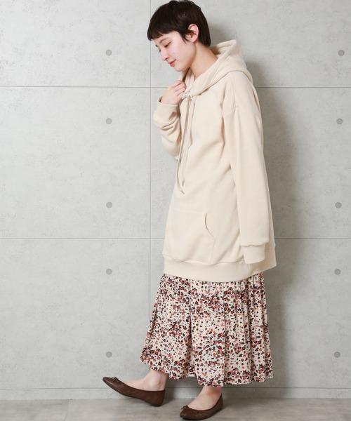 [MARLENE JOBERT] カラフルヒョウ柄シフォンの消しプリーツスカート