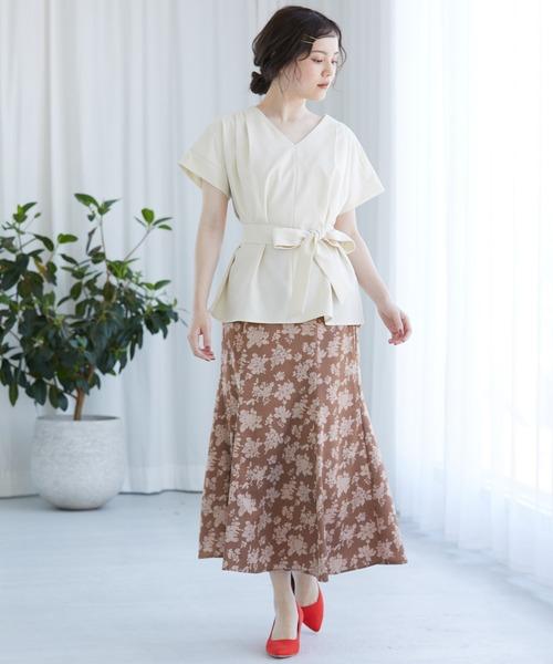 [ViS] 単色花柄サテンマーメイドスカート