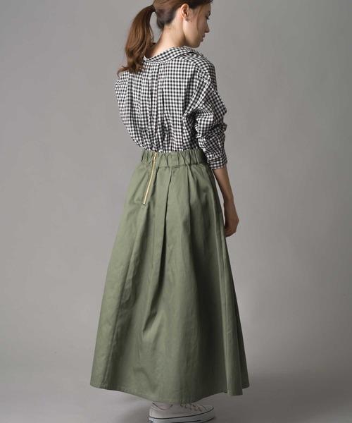 ギンガムチェック×ロングカーキスカート