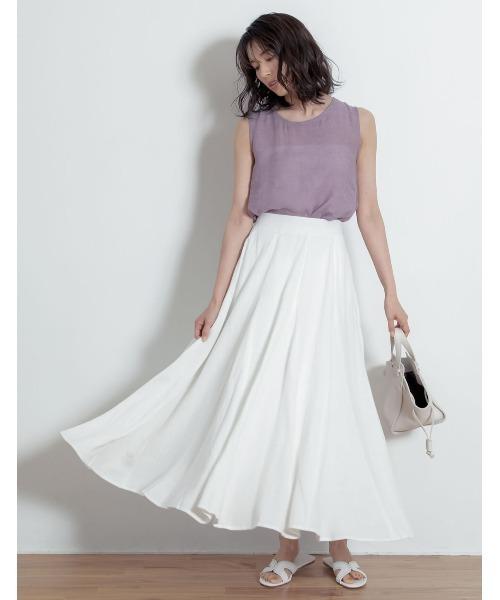 [Re:EDIT] [yuricookieさん着用][涼感][低身長向けSサイズ対応]リネンブレンドマキシ丈スイングスカート