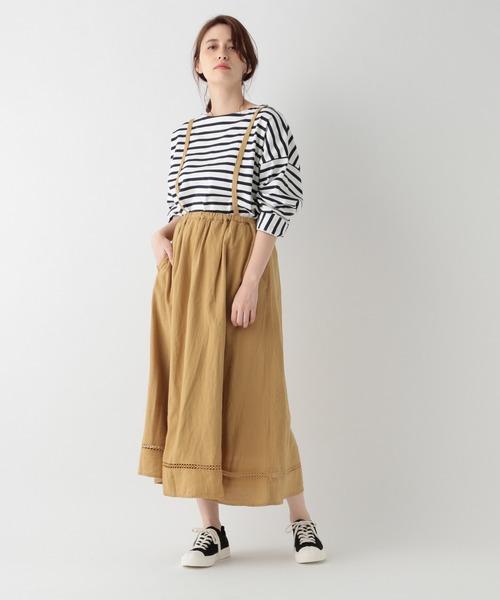 [studio CLIP] リネン混サスペンダー付きロングスカート
