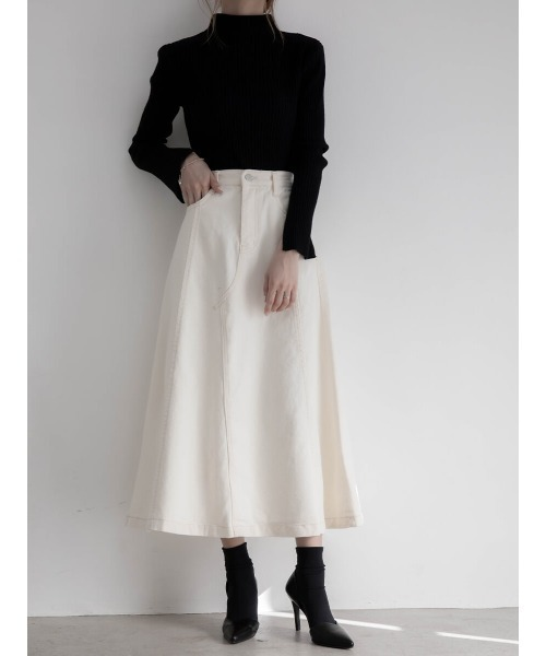 [A AMEL] ホワイトデニムフレアスカート