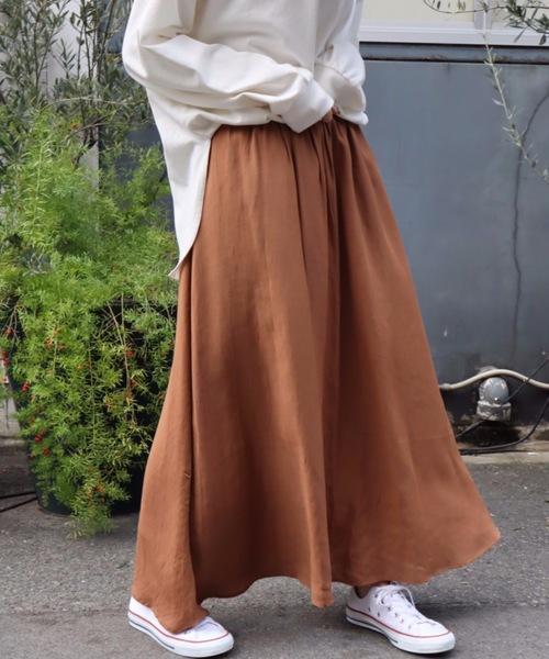 [moment+] リネンライクロングフレアスカート