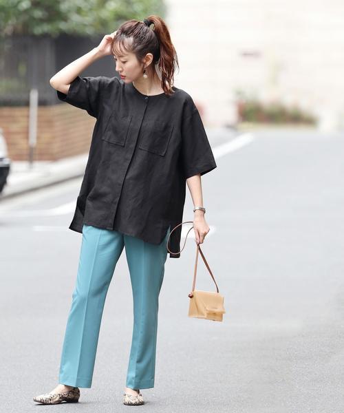 [coen] 【セットアップ対応】リネンレーヨンショートスリーブシャツ#(シャツジャケット/オーバーシャツ)