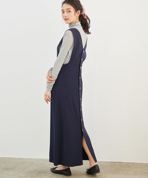 [ROPE' PICNIC] 【新色追加】バック釦ジャンパースカート