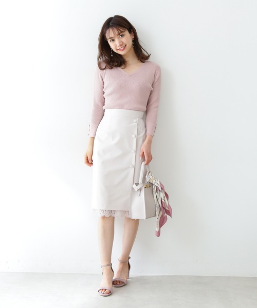 [PROPORTION BODY DRESSING] 裾レーススリットタイトスカート