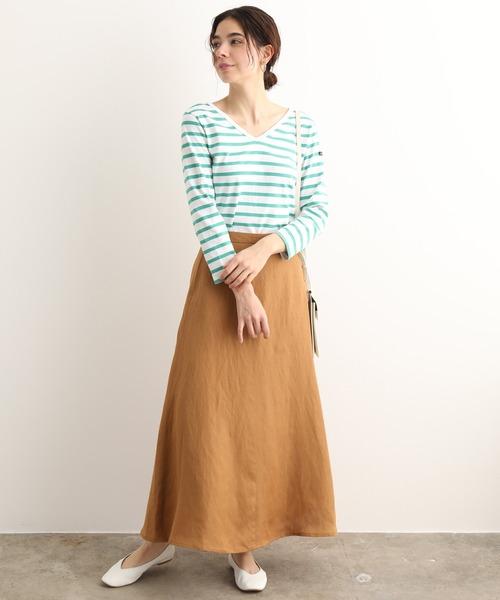 [ADAM ET ROPE'] 【セットアップ対応】リヨセル/麻ツイルロングスカート