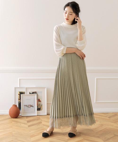 [Bou Jeloud] 【WEB限定】裾レースプリーツロングスカート/マキシスカート