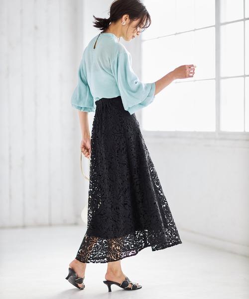 [tocco closet] ケミカルレースフレアスカート