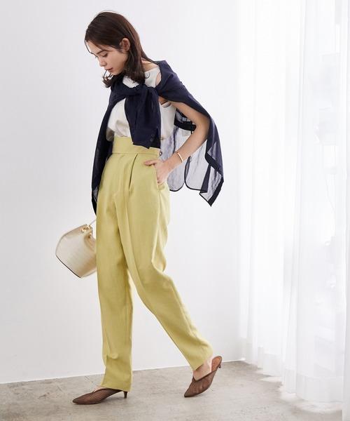 [ROPE'] 【Marisol ONLINE掲載】【セットシリーズ】リネンライクハイウェストタックパンツ