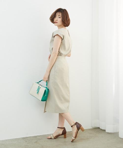 [ROPE' PICNIC] 【セットアップ対応】麻調タックアイラインスカート