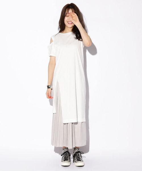 [BeAMS DOT] 【WEB限定】BeAMS DOT / 変形Tシャツ アシメプリーツスカートセット