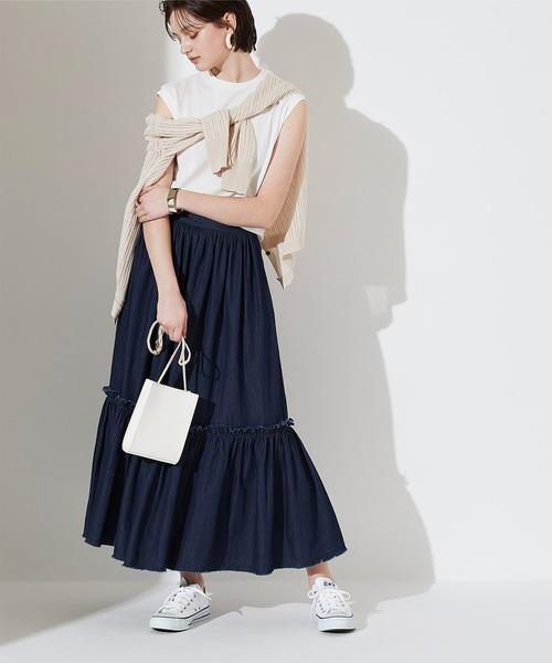 [titivate] デニムフリンジギャザースカート