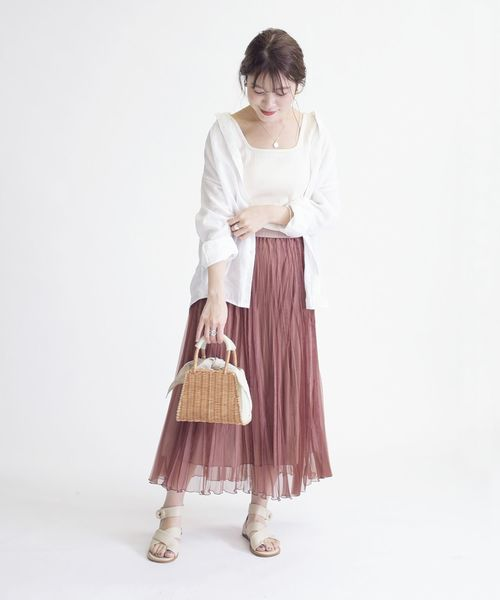 [SHIPS for women] リバーシブルワッシャースカート◇