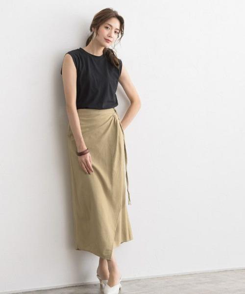 [Pierrot] 綿麻ラップスカート