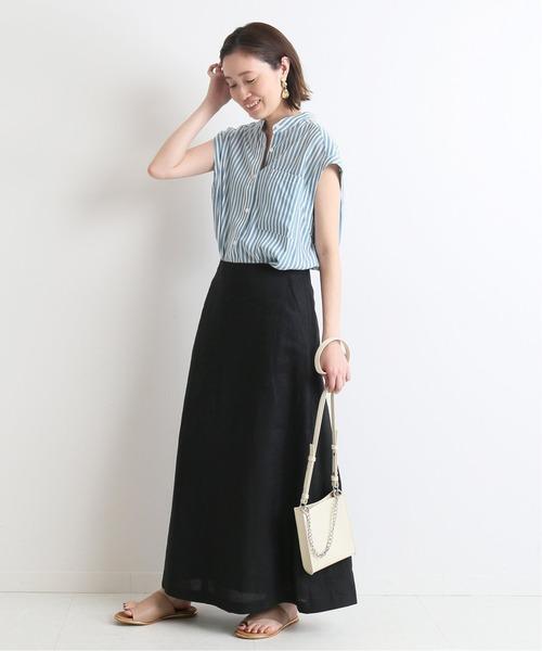 ストライプシャツ×リネンロングスカート