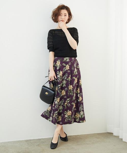 [ROPE' PICNIC] 麻レーヨンボタニカルプリントスカート
