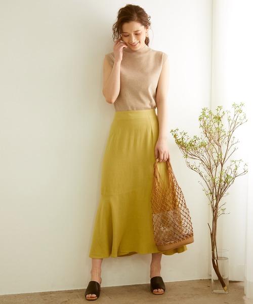[ROPE' PICNIC] 【WEB限定】麻レーヨンイレギュラーヘムスカート