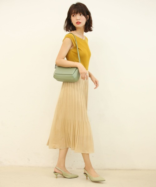 [SAISON DE PAPILLON] 裾消しプリーツフレアスカート