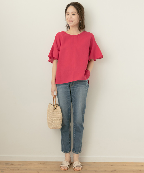 [URBAN RESEARCH ROSSO WOMEN] F by ROSSO リネンフレアスリーブブラウス