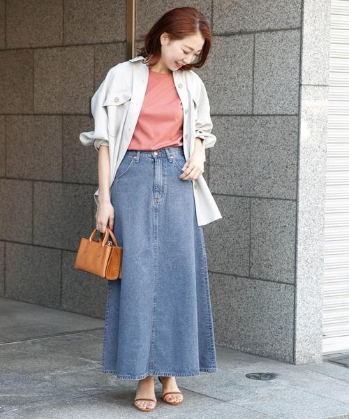 CPOシャツ×デニムフレアスカート