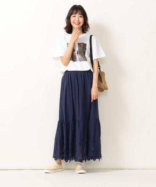 [SHIPS for women] SHIPS any:カットワーク刺繍スカート◆