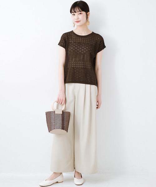 [haco!] 1枚でも重ね着にも便利なヘビロテしたくなる透かし編みニットトップス