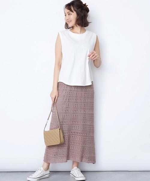 [STYLEBLOCK] クロシェ編み透かし編みニットロングスカート