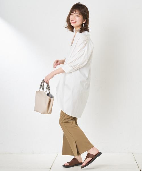 [natural couture] バンドカラー前あきシャツ
