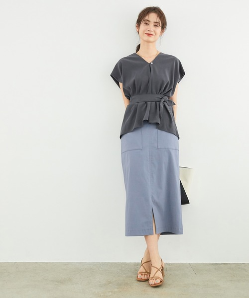 [ROPE'] ポケット付きストレッチタイトスカート