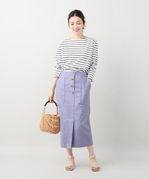 [La TOTALITE] 麻混ハイストレッチタイトスカート