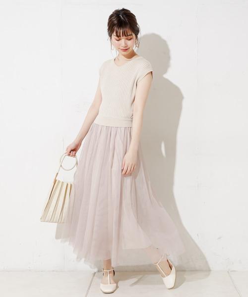 [natural couture] 【WEB限定】ノースリニット×チュールドッキングワンピース Mサイズ