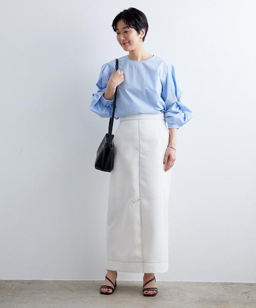 [ADAM ET ROPE'] 配色ステッチマキシタイトスカート