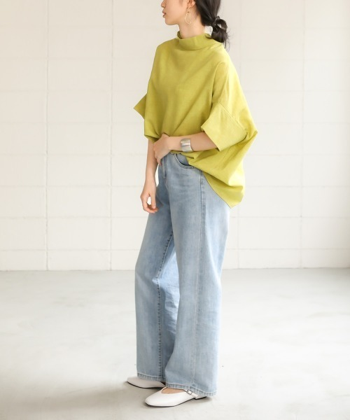 [Bou Jeloud] 【WEB限定】ウェーブボタン変形ブラウス/バックデザインロール衿ドレープシャツブラウス