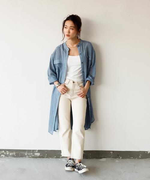 [Auntie Rosa] 【Holiday】シアーガーゼバンドカラーポケットシャツワンピ