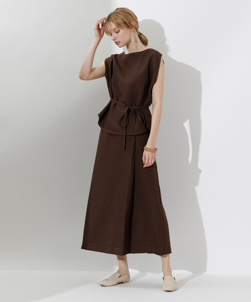 [titivate] リネンライクラップAラインリボン付スカート