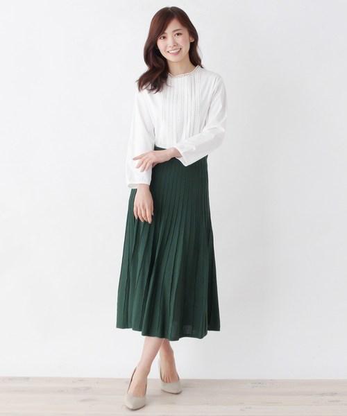 [SOUP] グラデーションプリーツニットスカート