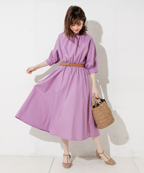 [natural couture] 3WAYバンドカラーシャツワンピース