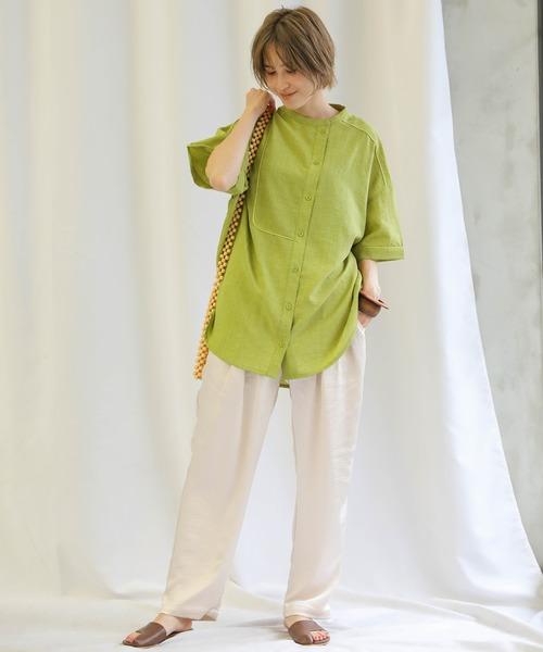 [select MOCA] 2020 S/S アシンメトリーパイピングシャツ/オーバーサイズ半袖カラーシャツ